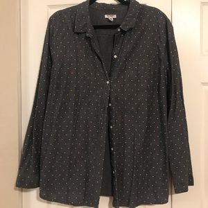 Grey and White polka dot button down - Old Navy